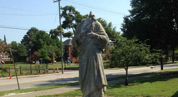 The vandalized Jesus statue in downtown Charleston, South Carolina