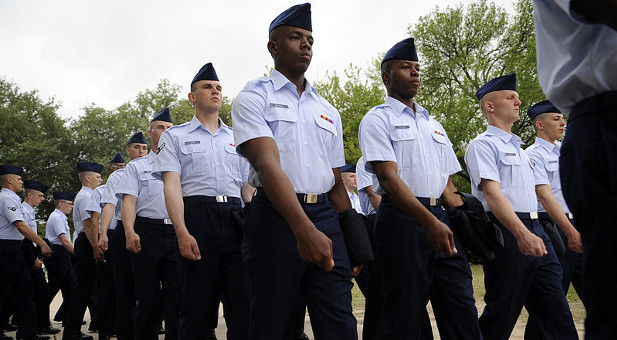 Airmen march during basic training at Lackland Air Force Base.