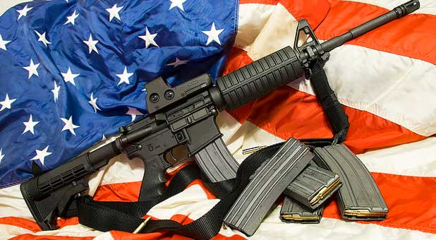 American flag with rifle