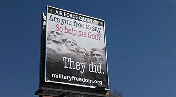 Restore Military Religious Freedom Coalition billboard