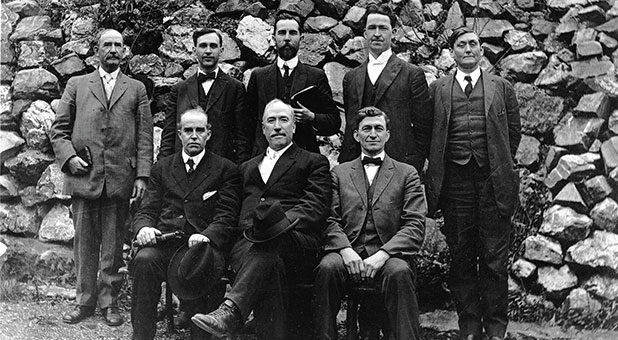 First executive presbytery in 1914. Seated (L-R): T.K. Leonard, E.N. Bell, Cyrus Fockler; Standing (L-R): John W. Welch, J. Roswell Flower, D.C.O. Opperman, Howard A. Goss, M.M. Pinson. (