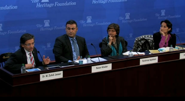 A panel of Muslim leaders, speaking at The Heritage Foundation on Dec. 3, 2015, said it's critical to recognize the religious roots of terror to defeat it. From left to right: Zudhi Jasser; Naser Khader; Farahnez Ispahani, and Asra Nomani.
