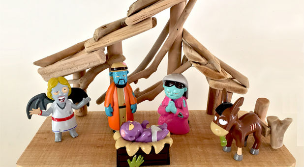"Welcome to ""Zombie Nativity,"" a new Christmas decoration/collectible/toy featuring a holy family, an angel and a donkey who are undead, partially decomposing and looking for their favorite meal — the gray matter inside your head."