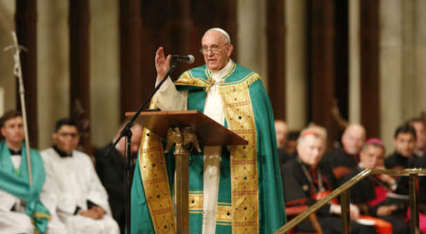 Pope Francis addresses St. Patrick's Cathedral in New York City.