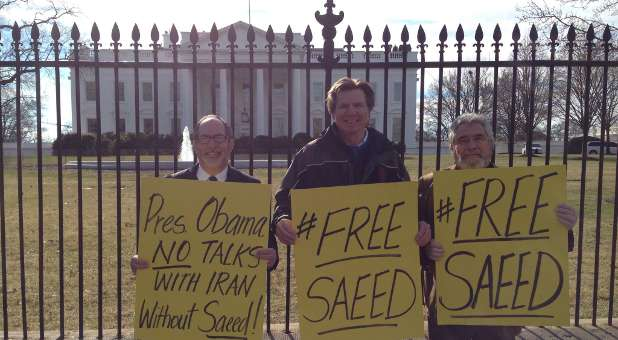 Demonstrators protest Pastor Saeed Abedini's imprisonment.