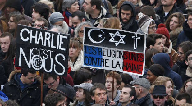 French citizens standing in solidarity with Charlie Hebdo, a magazine attacked by terrorists earlier this year.