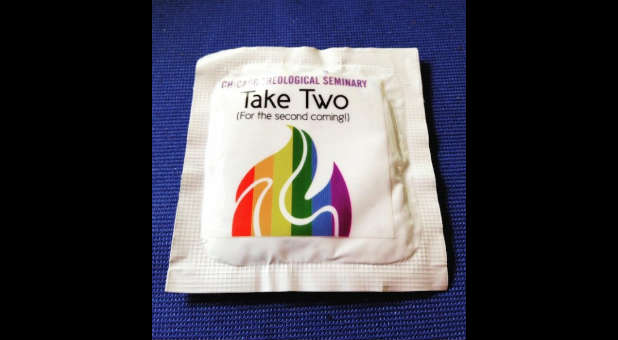 Chicago Theological Seminary was handing out these condoms at a festival recently.