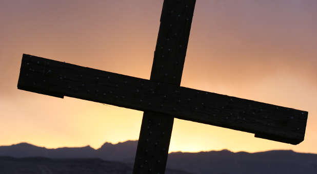 Cross mountains sunset