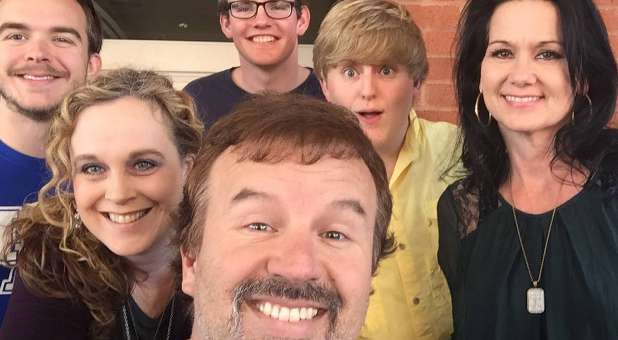 Casting Crowns' Mark Hall with his family.