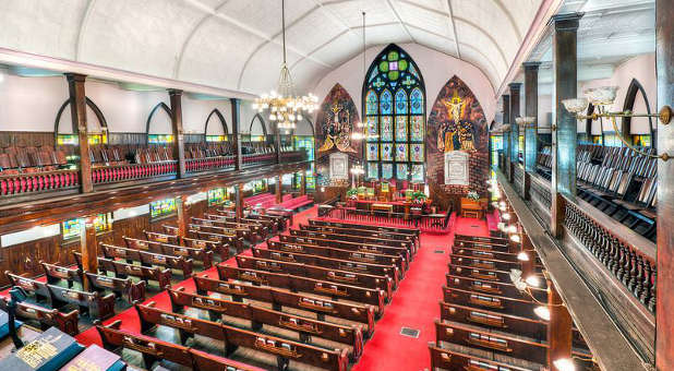 The interior of Mother Emanuel AME Church in Charleston, South Carolina, where the 9 church-goers, including the pastor, were gunned down in an apparent hate crime during a Wednesday evening prayer service.