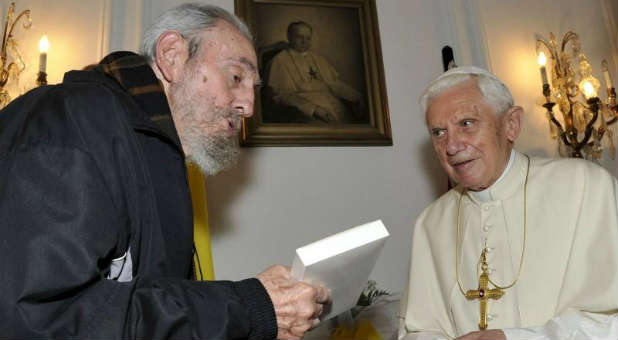 Fidel Castro, Pope Francis and Raul Castro (not pictured) have been getting along recently.
