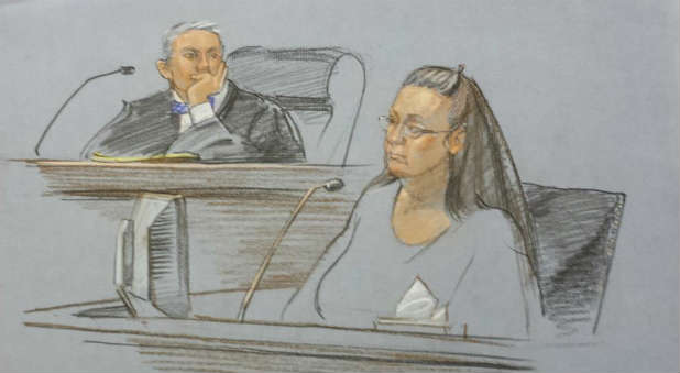 Kim Davis, seen in this courtroom sketch, was arrested and jailed Thursday.