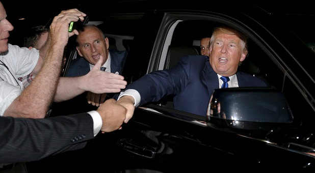 Donald Trump Shaking a Supporter's Hand