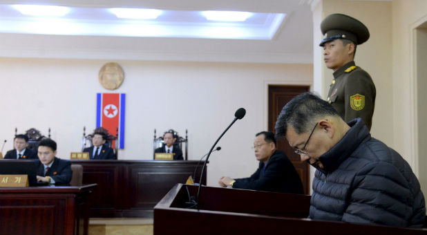 South Korea-born Canadian pastor Hyeon Soo Lim attends his trial at a North Korean court in this undated photo released by North Korea's Korean Central News Agency (KCNA) in Pyongyang.