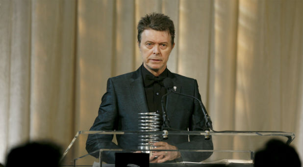 Singer David Bowie receives the Webby Lifetime Achievement award during the 11th annual Webby Awards honoring online content in New York.
