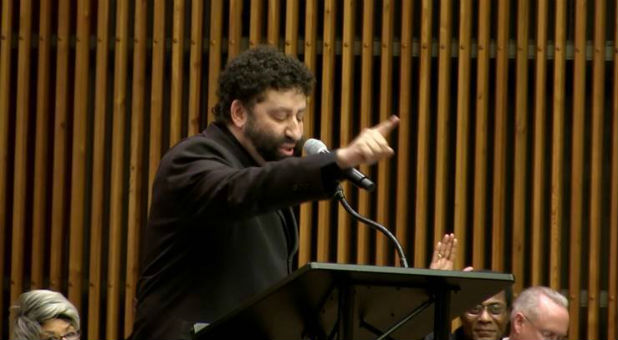 Jonathan Cahn speaks.