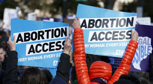 Protesters advocate for abortion access.