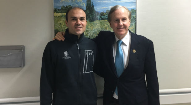 Saeed Abedini, a pastor from Idaho is pictured with Congressman Robert Pittenger at Landstuhl Regional Medical Center in Landstuhl, Germany.