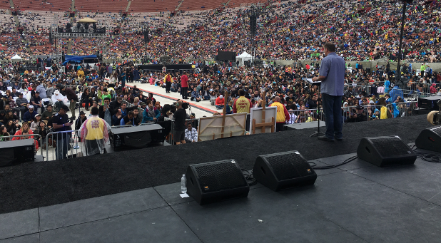 Dutch Sheets speaks to the crowd at Azusa Now at the Los Angeles Memorial Coliseum.