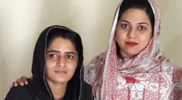 Sonia Gill (left), 23, with Mary Gill, a member of the Punjab Assembly.