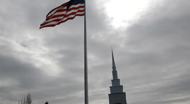 A U.S. flag flies on the grounds of Rock Springs Baptist Church in Easley, S.C