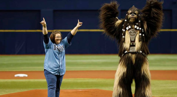 Chewbacca Mom Candace Payne with Chewbacca at a Rays game.