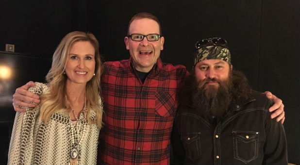 Perry Noble, center, with Korie and Willie Robertson.