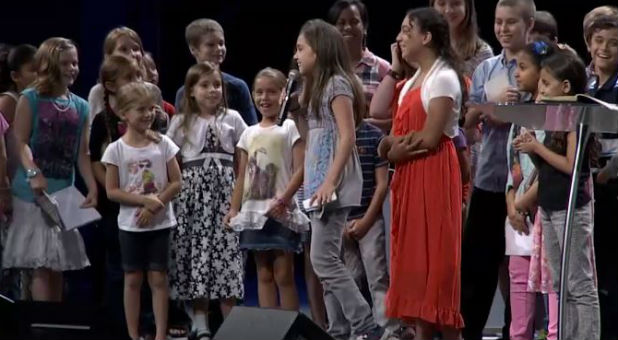 A child speaks at a Tampa church.