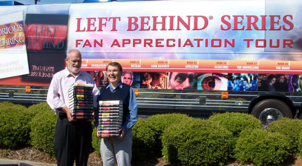 "Jerry B. Jenkins, left, and Tim LaHaye, right, on their ""Left Behind"" series fan appreciation tour."