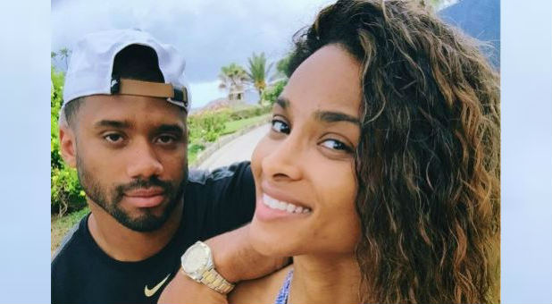 Russell Wilson with wife Ciara