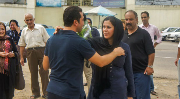 Youcef Nadarkhani is greeted by his wife, Tina, on his release from prison, September 2012.