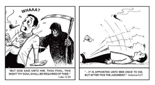 "Jack Chick wrote and illustrated the tract, ""This Is Your Life."""