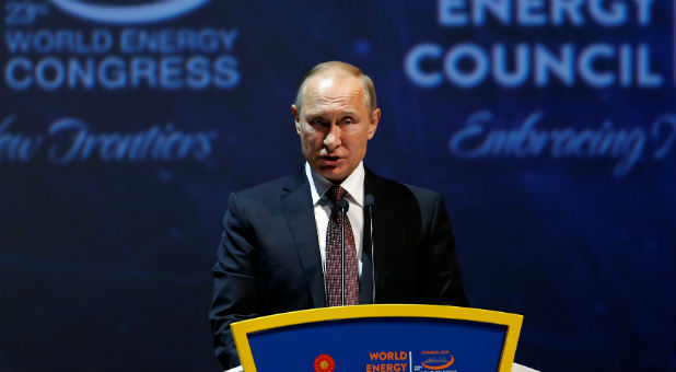 Russia's President Vladimir Putin delivers a speech during the 23rd World Energy Congress in Istanbul