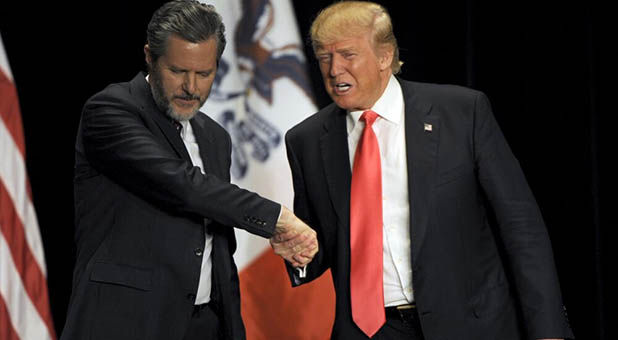 President-elect Donald Trump and Liberty University President Jerry Falwell Jr.