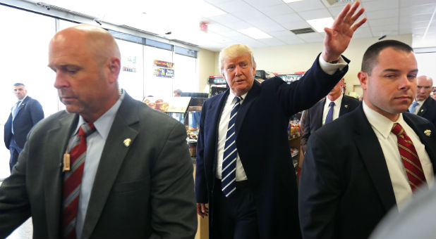 U.S. Republican presidential nominee Donald Trump goes to a Wawa gas station after a campaign event in King of Prussia.