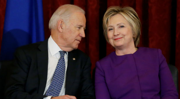 U.S. Vice President Joe Biden (L) and former Secretary of State Hillary Clinton (R)