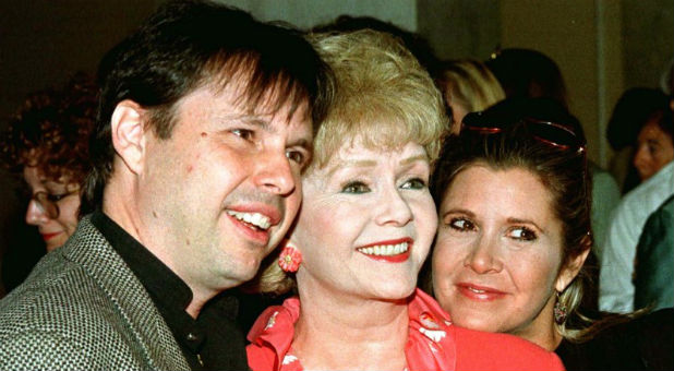 Todd Fisher with his mother, Debbie Reynolds, and his sister, Carrie Fisher.