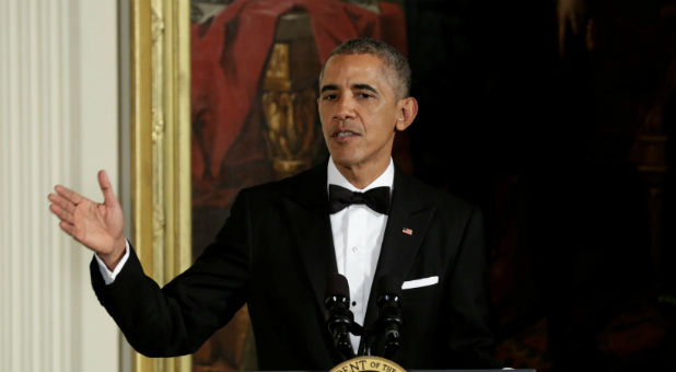 U.S. President Barack Obama delivers remarks at the Kennedy Center Honors Reception at the White House in Washington