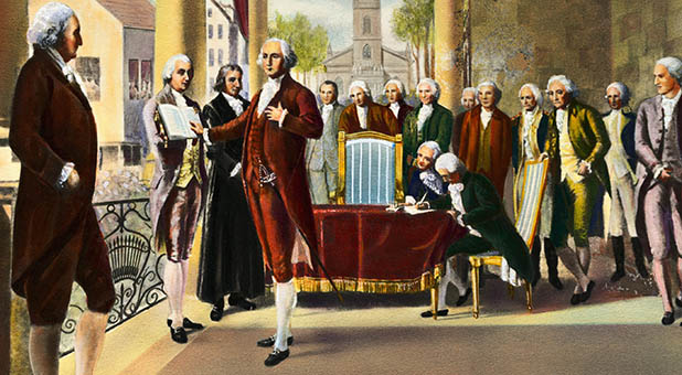 Image result for george washington sworn in as president