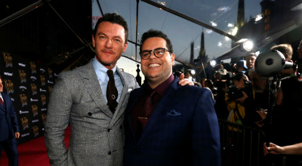 "Cast members Luke Evans (L) and Josh Gad pose at the premiere of ""Beauty and the Beast"""