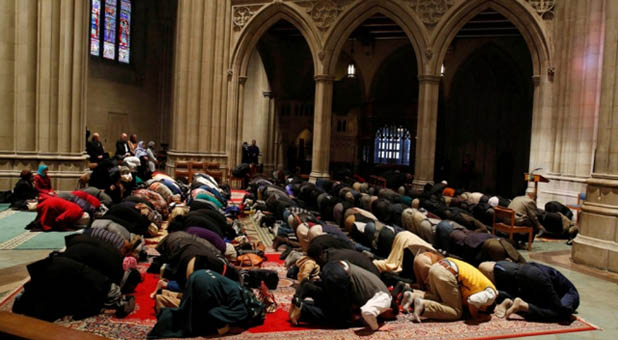 Muslim Prayers held inside the Washington National Cathedral