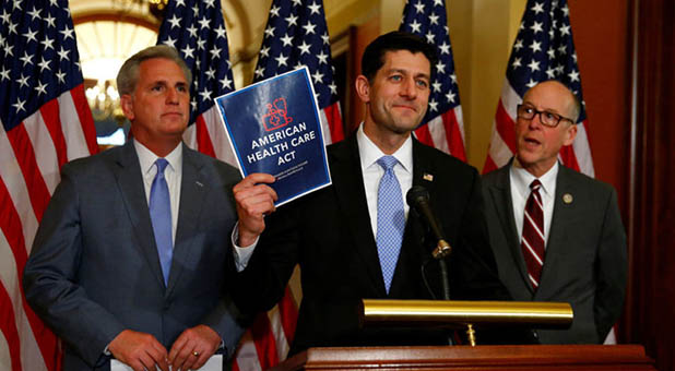 Speaker of the House Paul Ryan, House Majority Leader Kevin McCarthy, and Rep. Greg Walden