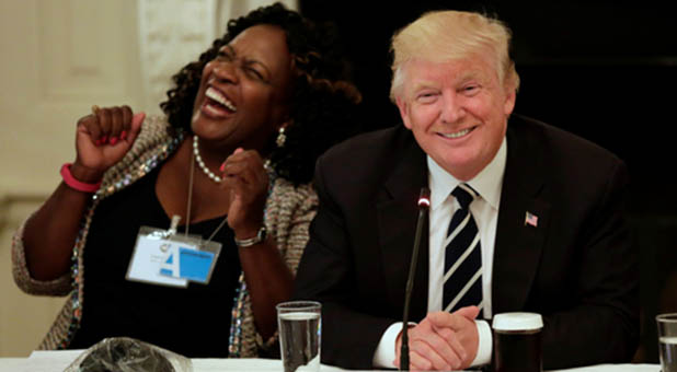 President Donald Trump and Fontana, California, Mayor Acquanetta Warren shared a laugh during introductions at the White House Infrastructure Summit on Thursday.