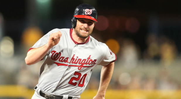 Washington Nationals second baseman Daniel Murphy (20) runs the bases on his way to scoring a run against the Pittsburgh Pirates during the seventh inning at PNC Park.