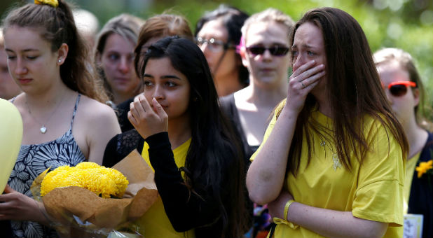 Mourners arrive for the funeral of Manchester bomb victim Georgina Callander at Holly Trinity Church, Tarleton, Britain, June 15, 2017.