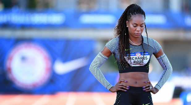 Sanya Richards-Ross waits to compete during the women's 400m first round heats in the 2016 U.S. Olympic track and field team trials at Hayward Field.