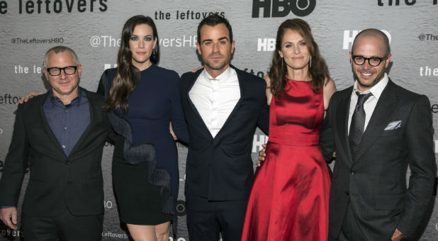 "(L-R) Show creator Tom Perrotta, actors Liv Tyler, Justin Theroux and Amy Brenneman and show creator Damon Lindelof attend the NY Season Premiere of HBO's ""The Leftovers."""