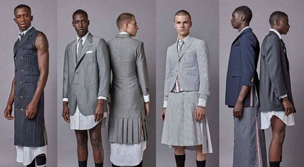 When I saw photos on Facebook of Thom Browne's latest line for men, I have to admit that I was floored.