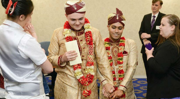 Jahed Choudhury and Sean Rogan were married in Walsall, a town 130 miles northwest of London.