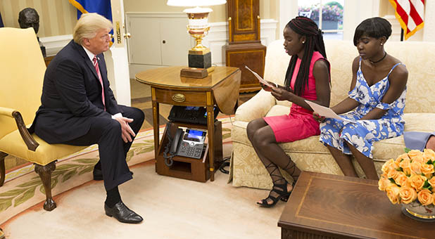 President Donald Trump and Chibok Schoolgirls